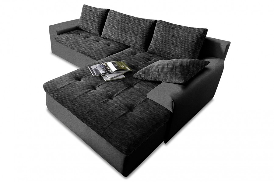 ecksofa cecile xxl mit schlaffunktion schwarz sofas. Black Bedroom Furniture Sets. Home Design Ideas