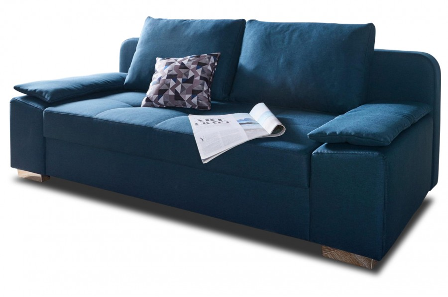 Collection ab 3er sofa paula mit schlaffunktion blau for 3er sofa mit schlaffunktion