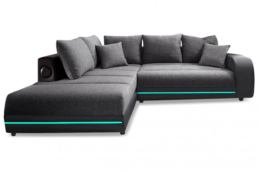 ecksofa xl trentino mit led und sound anthrazit. Black Bedroom Furniture Sets. Home Design Ideas