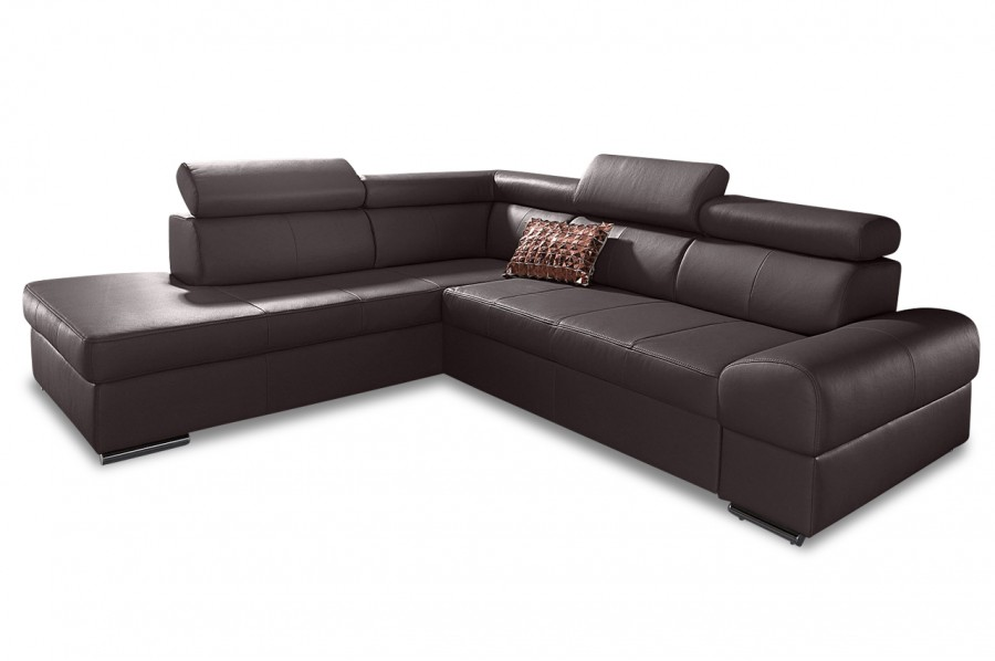 leder ecksofa xl broadway mit schlaffunktion braun. Black Bedroom Furniture Sets. Home Design Ideas
