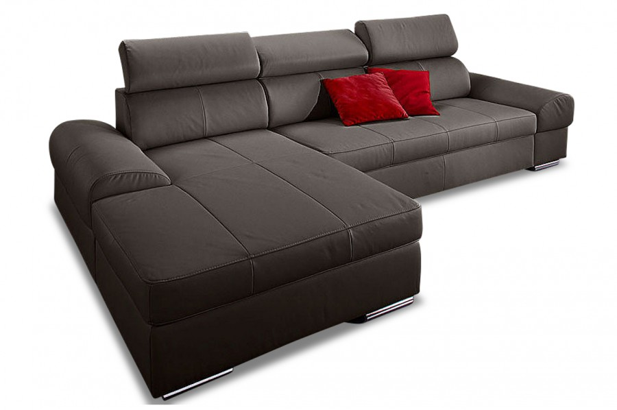 leder ecksofa broadway mit schlaffunktion grau sofas. Black Bedroom Furniture Sets. Home Design Ideas