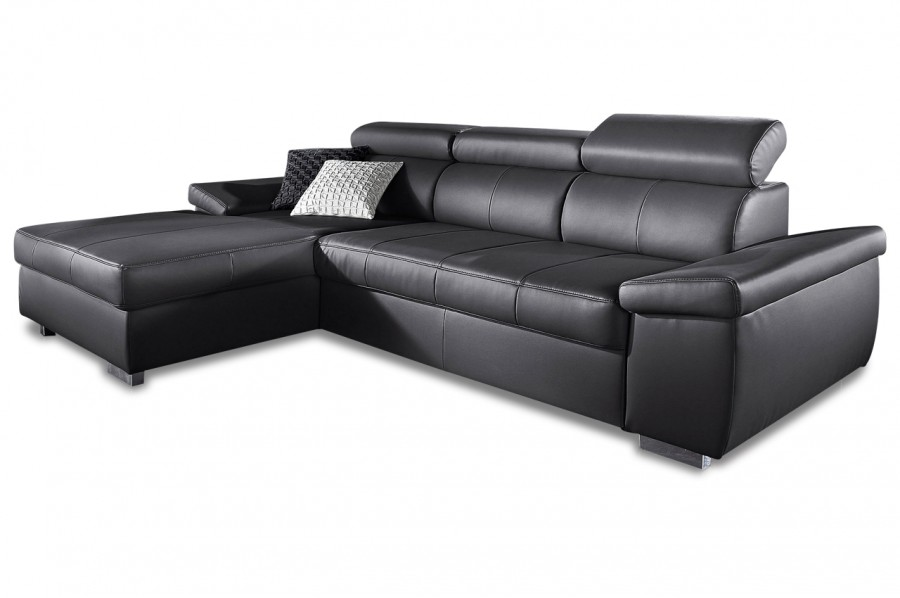 leder ecksofa catwalk mit schlaffunktion schwarz. Black Bedroom Furniture Sets. Home Design Ideas