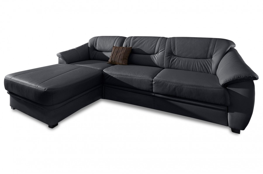 leder ecksofa links schwarz mit federkern sofas zum halben preis. Black Bedroom Furniture Sets. Home Design Ideas