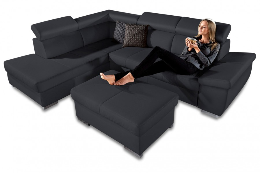 leder ecksofa xl catwalk schwarz sofas zum halben preis. Black Bedroom Furniture Sets. Home Design Ideas