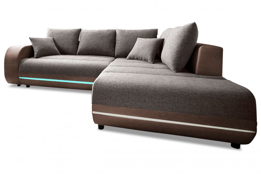 nova via ecksofa xl trentino mit led braun sofas zum halben preis. Black Bedroom Furniture Sets. Home Design Ideas