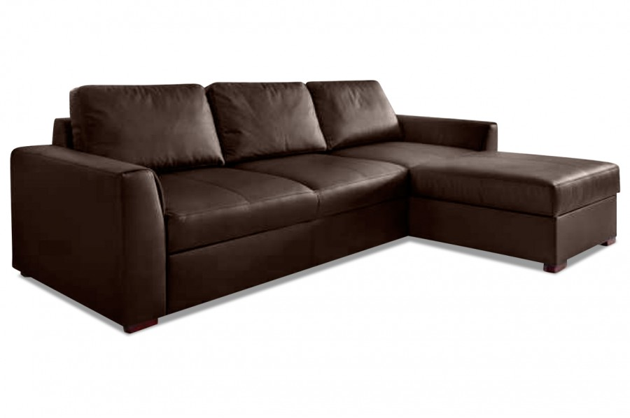 aek leder ecksofa moreno mit schlaffunktion braun. Black Bedroom Furniture Sets. Home Design Ideas