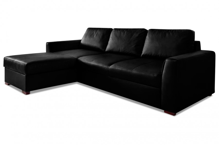 leder ecksofa moreno mit schlaffunktion schwarz. Black Bedroom Furniture Sets. Home Design Ideas