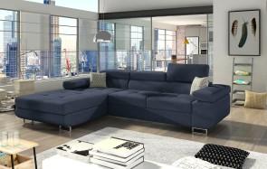 Eckcouch Armando links - mit Schlaffunktion - Jeansblau