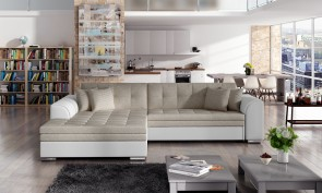 Sofa L-Form Sorento-P links - mit Schlaffunktion - Beige