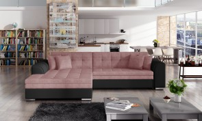 Sofa L-Form Sorento-P links - mit Schlaffunktion - Hellrosa