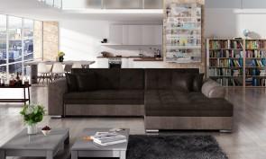 Sofa L-Form Sorento-P rechts - mit Schlaffunktion - Schwarzbraun