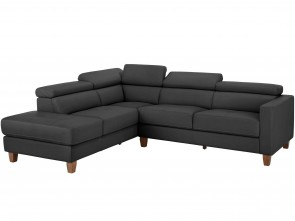 Leder Ecksofa  links - Grau