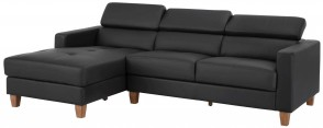 Notio Leder Ecksofa Lopez links - Schwarz