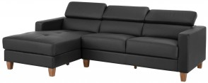 Notio Leder Ecksofa Lopez links - Grau