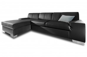 Leder Ecksofa Star links - Schwarz