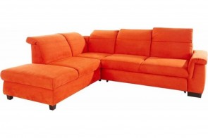 Ecksofa XL Sully links - mit Schlaffunktion - Terrakotta