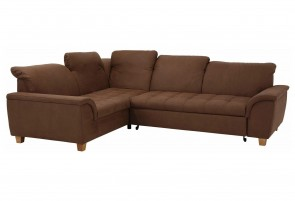 Domo Collection Sofa L-Form Lyla - mit Schlaffunktion - Braun
