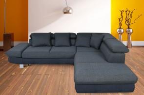Eckgarnitur Sun-P rechts - mit Schlaffunktion - Jeansblau mit Federkern