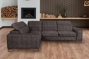 Sofa L-Form Genova links - mit Schlaffunktion - Walnuss