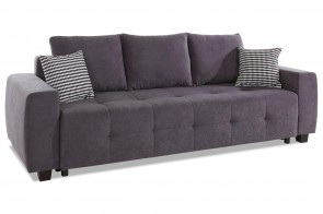 Collection AB 3er-Sofa Bella - mit Schlaffunktion - Anthrazit mit Federkern