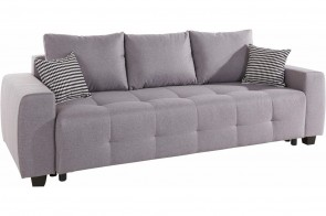 Collection AB 3er-Sofa Bella - Grau mit Federkern