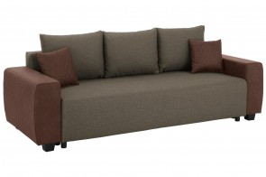 Collection AB 3er-Sofa Bella - mit Schlaffunktion - Braun mit Federkern
