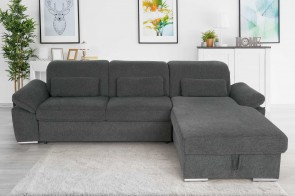 Matex Sofa L-Form Delta - mit Schlaffunktion - Anthrazit