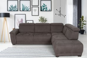 Domo Collection Sofa L-Form Jenna - Schlamm mit Federkern
