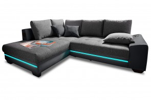 Nova Via Ecksofa XL Nikita - mit LED und Sound - Anthrazit