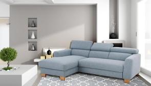 Ecksofa Steve Luxus links - mit Schlaffunktion - Blau