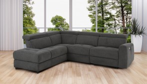 Ecksofa XL  links - mit Relax - Anthrazit mit Federkern