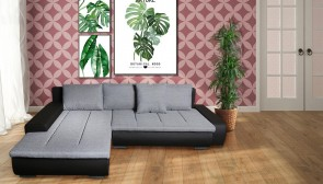 Sofa L-Form Solano-P links - mit Schlaffunktion - Grau