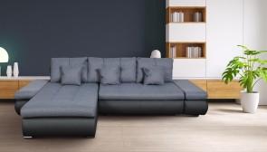 PL Eckgarnitur Enrico-P links - mit Relax und Schlaffunktion - Silber