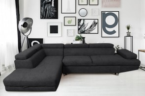 Meble  Ecksofa XL Rio-P links - mit Schlaffunktion - Anthrazit
