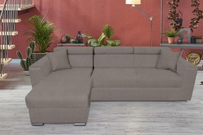 Sofa L-Form Laura-P links - mit Schlaffunktion - Taupe