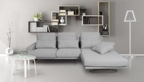 Sofa L-Form Trevi  rechts - Grau mit Federkern