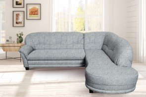 Domo Collection Sofa L-Form Camelita-P - mit Schlaffunktion - Grau