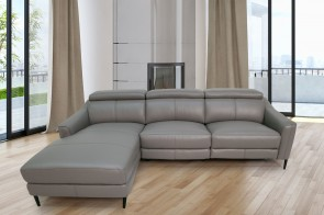 Komojo Ecksofa Queen links - mit Relax - Taupe