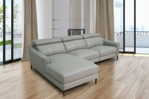 Komojo Ecksofa Queen links - mit Relax - Grau
