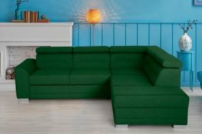 Sofa L-Form Lucy - mit Schlaffunktion - Smaragd
