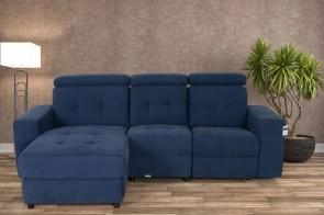 Sofa L-Form Linkin - mit Relax - Blau mit Federkern