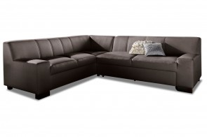 Leder Ecksofa XL Norma links - Braun