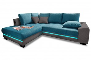 Ecksofa XL Nikita links - mit LED und Sound - Gruen