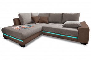 Ecksofa XL  links - mit LED - Braun