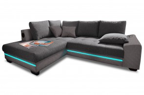 Ecksofa XL Nikita links - mit LED und Sound und Schlaffunktion - Anthrazit