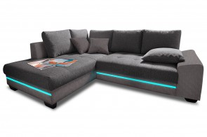 Ecksofa XL Nikita links - mit LED - Grau