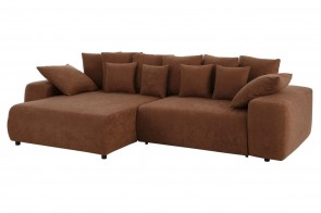 Sofa L-Form  links - mit Schlaffunktion - Braun