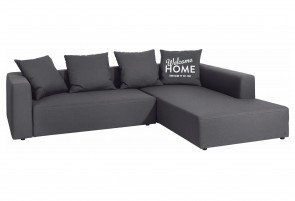 Tom Tailor Sofa L-Form - mit Schlaffunktion - Anthrazit mit Federkern