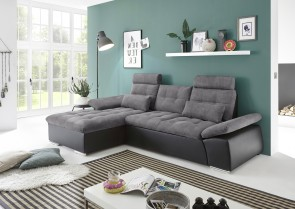 BlackRedWhite Ecksofa Jakarta links - mit Schlaffunktion - Anthrazit