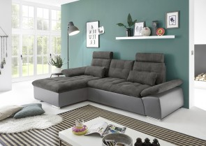 BlackRedWhite Ecksofa Jakarta-P links - mit Schlaffunktion - Anthrazit